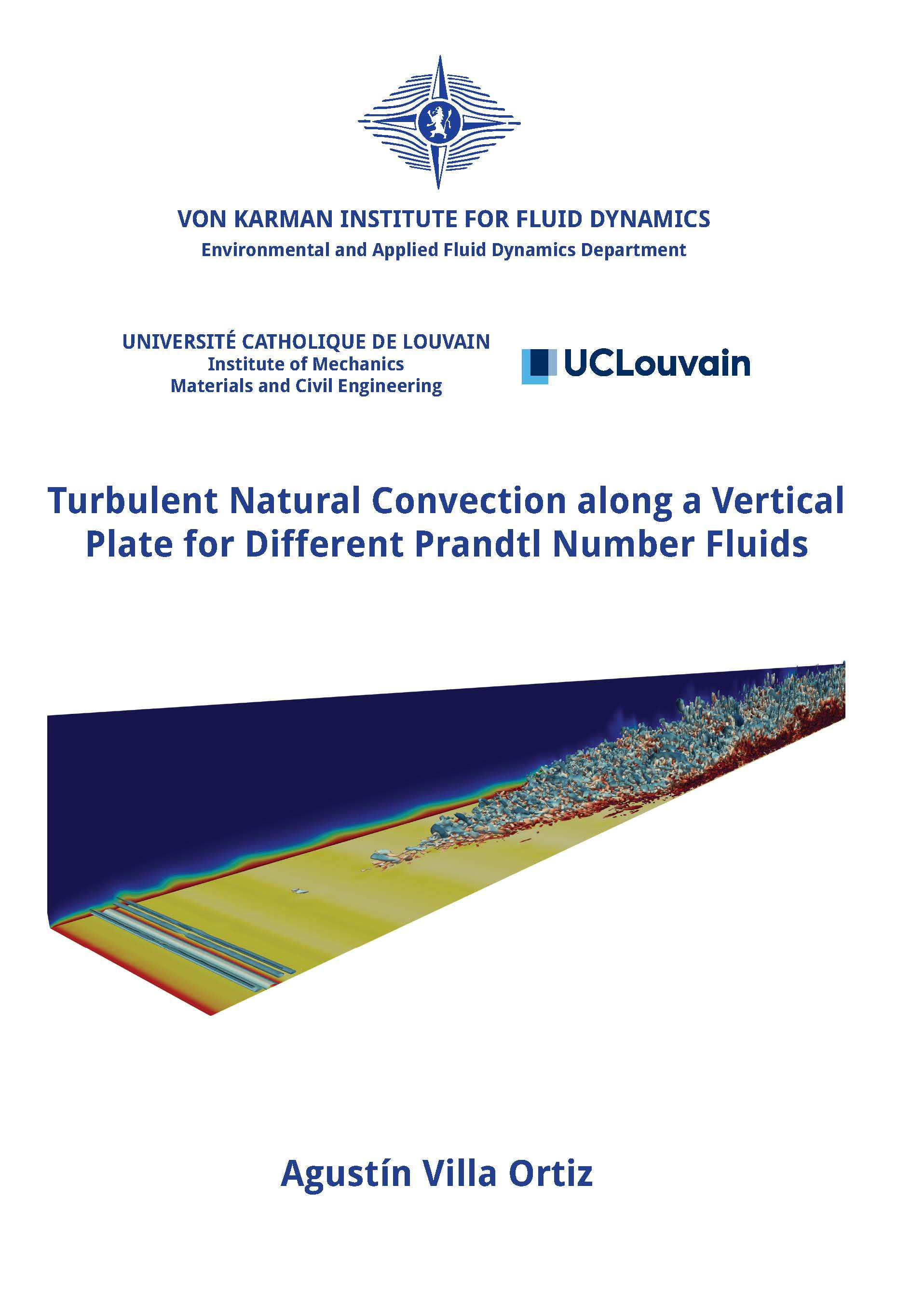 Turbulent natural convection along a vertical plate for different Prandtl number fluids  - Agustín Villa Ortiz - Ph.D. Thesis - Free download